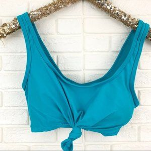 Coastal Blue tie knot front turquoise bikini top